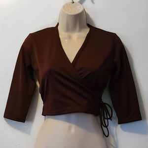 Brown Cropped Faux Wrap Top